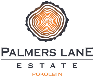 Logo with Log appearing above the centre of the words Palmers Lane Estate Pokolbin